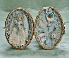Presentation Box for French Doll Accessories | tiny French Bébé in presentation basket ... pinned via French Market ...