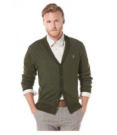 Penguin The Hawk Cardigan Sweater - Military Green - The Blues Jean Bar, the Best Place to Buy Jeans! Sweater Cardigan, Men Sweater, Buy Jeans, Long Shorts, Mens Sale, Military Green, Dapper, Penguins, Blues