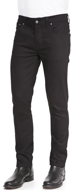 $165, Black Jeans: Nudie Jeans Nudie Grim Tim Saturated Denim Jeans Black. Sold by Neiman Marcus. Click for more info: https://lookastic.com/men/shop_items/138907/redirect