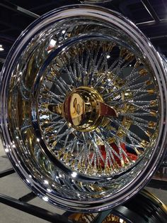 Reverse 72 Diamond Cut Spokes Cross Laced US Wire Wheel with Gold Nipples, Gold Hub and Gold 2 Bar Smooth Knock Off. Rims For Cars, Rims And Tires, Wheels And Tires, Car Wheels, Custom Wheels, Custom Cars, Truck Rims, Custom Chevy Trucks, Alloy Wheel