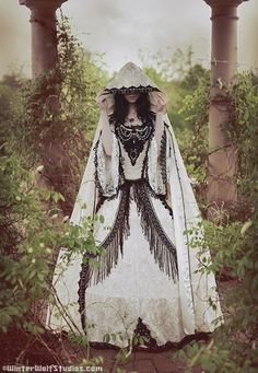 Gothic Wedding Gown and Cape Steampunk Medieval Renaissance Custom - Cannot get enough of these dresses!