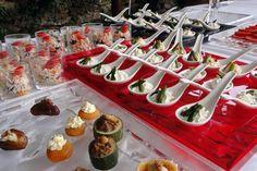 Antipasti in monoporzione. Buffet per il ricevimento del matrimonio. Preludio Catering. Banqueting per matrimoni, menu per buffet matrimoni. Wedding ideas, wedding buffet inspiration.