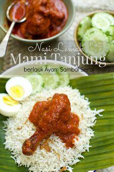 masam manis: Nasi Lemak Mami Tanjung Berlauk Sambal Ayam Masak Serai