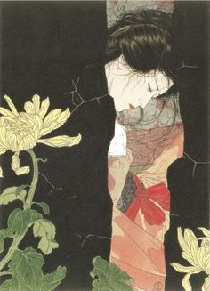 """Love the chrysanthemums. Takato Yamamoto, """"Black Will-o'-the-wisp""""        Altar of Narcissus artbook"""