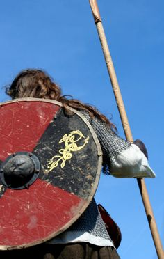Viking with his round shield and spear