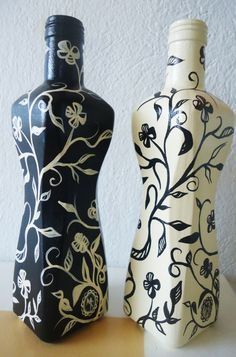 Duo de Garrafas Decorativas garrafas de azeite pintadas a mão