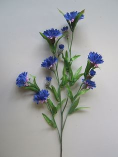 Kornblume mit 12 Blüten und 36 kleinen Blättern Farbe:blau-lila - Online - Shop für Kunstpflanzen, Kunstblumen, Deko-Obst & Gemüse