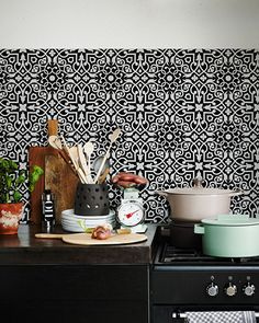 CLASSIC TILE Black White · Backsplash WallpaperKitchen ...