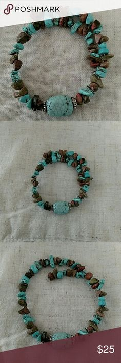 Turquoise& brown stones wrap around bracelet Beautiful wraparound tourquise beaded bracelet. Brown & turquoise stones on silver wire. Statement piece!! Jewelry Bracelets
