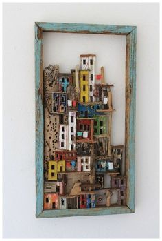 La notte a colori della citta 'verde, Sivia Logi .Need great tips concerning arts and crafts? Head out to our great site!Found Object Art Ideas 17 Best Ideas About Found Object Art On - - jpegA beautiful wood cut village in a frame could inspire a DI Clay Houses, Wooden Houses, Miniature Houses, Bird Houses, Diy And Crafts, Arts And Crafts, Art Diy, Driftwood Crafts, Driftwood Ideas