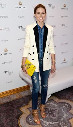 We love the way Olivia Palermo paired a white tuxedo jacket over her distressed denim-on-denim look.