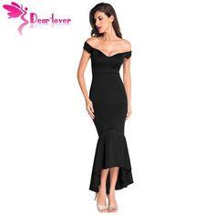 Dear-Lover Vestidos Party Night Club Dresses Navy Off-shoulder Mermaid Jersey Dress Formal Gowns