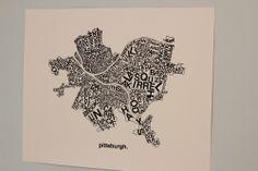 Pittsburgh Neighborhoods Print : Black ink on white. $60.00, via Etsy.