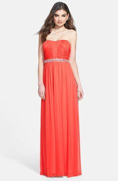 Way-In Embellished Waist Strapless Mesh Gown (Juniors) | Nordstrom coral red bridesmaid dress
