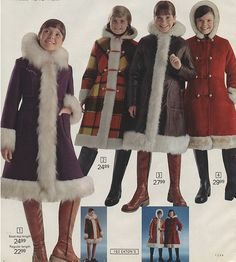 I had a coat identical to the one on the far left in the mid seventies. 1970s Childhood, My Childhood Memories, Great Memories, Nostalgia, 1970 Style, 70's Style, Vintage Outfits, Vintage Fashion, 1960s Fashion