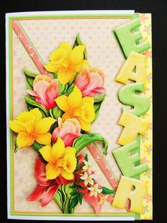 EASTER OVER THE SIDE DAFFODILS Mini Kit on Craftsuprint designed by Janet Briggs - made by Valerie Spowart