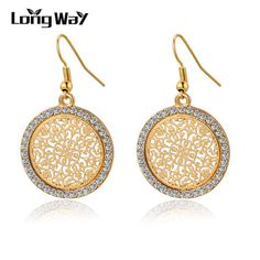 Pendientes Vintage Big Round Flower Gold Silver Statement Drop Earrings For Women Crystal Wedding Earrings Brincos SER140389 //Price: $8.99 & FREE Shipping // #jewelry #jewels #jewel