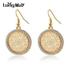 Pendientes Vintage Big Round Flower Gold Silver Statement Drop Earrings For Women Crystal Wedding Earrings Brincos SER140389