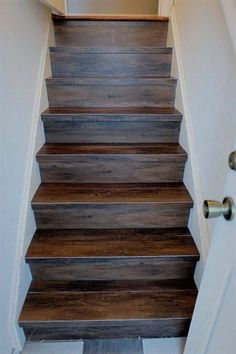 Great Solution Wood Look Vinyl Tile On A Stair #Basements