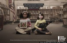The pro gun control ad by Moms Demand Action for Gun Sense in America is intended to persuade lawmakers on the state and federal level to increase limits on firearms. The book featured in one of their ads is a copy of Little Red Riding Hood banned in at least two California school districts because it shows a bottle of wine on the cover.