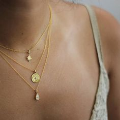 Starburst, Coin and Drop Necklaces ✨ Now all of our necklaces come with an adjustable chain from 40cm to 45cm so they are easy to layer. You can also get a 45-50 cm chain if you prefer, just let me know in the comment box at checkout!