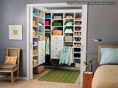Closet Organizers for your Bedroom by EasyClosets.com. It is really fun to design your dream closet and see what the cost is with their web app!  I am all about open shelves, instead of drawers.