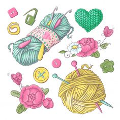 Set For Handmade Knitted Flowers And Elements And Accessories For Crocheting And Knitting Vector and PNG Frame Floral, Flower Frame, Free Vector Graphics, Vector Art, Vector Design, Vector File, Knitting Needles, Free Knitting, Cartoon Clouds