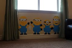 "Obsessively Stitching: ""Despicable Me"" Party Ideas! Wall decorations (easy & inexpensive): lrg cardboard versions made with Bristol board, markers & glue. Minion Room, Minion Theme, Minion Birthday, Boy Birthday, Birthday Ideas, Despicable Me Party, Minion Party, I Party, Party Time"