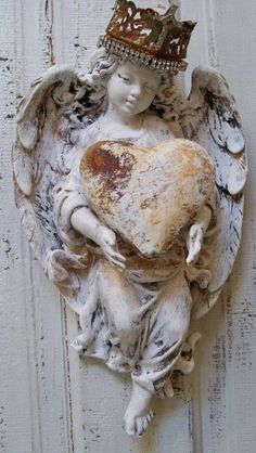 Angel wall sculpture with crown hand painted distressed holding heart shabby chic statue decor Anita Spero on Etsy
