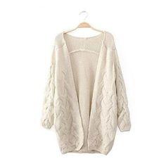 Woman's Braid Knit V Neck Cardigan 080861 Color Beige