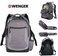 "New TSA Friendly Wenger Spirit Scan Smart 15"" Laptop / MacBook Pro Gray Backpack #SwissGear"