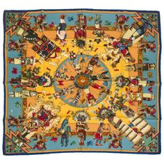 Hermes `Kachinas` Silk Scarf by Artist Kermit Oliver | From a collection of rare vintage scarves at https://www.1stdibs.com/fashion/accessories/scarves/