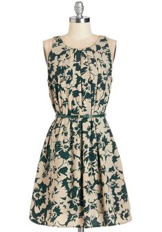 Great Wavelengths Dress in Green Floral - Green, Tan / Cream, Floral, Casual, A-line, Sleeveless, Woven, Mid-length