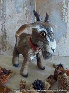 Bilbo the goat: vintage style, soft sculpture, hand painted, fabric art doll animal (goat) by Pennybright Studios.