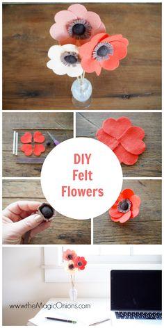 DIY Felt Flowers Tutorial :: www.theMagicOnions.com