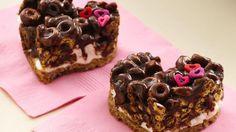 Chocolate Cheerios Marshmallow Hearts, my Grandma Lillian made similar bars #LorAnnValentine