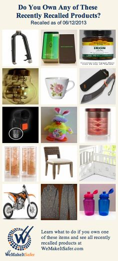 Recently recalled products, including motorcycles, dining chairs, cups, bicycle forks & more. See the rest at WeMakeItSafer.com