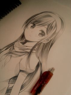 ✮ ANIME ART ✮ anime girl. . .long hair. . .headband. . .drawing. . .sketch. . .pencil. . .graphite. . .cute. . .kawaii