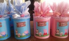 lembrancinha de lata de leite peppa pig Baby Formula Containers, Baby Formula Cans, 1st Birthday Parties, Birthday Party Decorations, Aniversario Peppa Pig, George Pig, Pig Party, Mason Jar Crafts, Unicorn Party