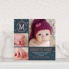 New Fallen Snow: Slate - Winter Girl Birth Announcements in Slate | Magnolia Press