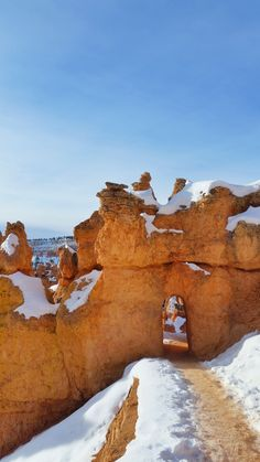 What's it like to winter hike the hoodoos in Bryce Canyon on Queens Garden Trail? Winter Hiking, Winter Travel, Snowy Pictures, Us National Parks, Winter Photos, Bryce Canyon, Outdoor Travel, Vacation Ideas, North America