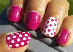 Polka dot nails Fabulous Nails, Gorgeous Nails, Pretty Nails, Love Nails, Polka Dot Nails, Polka Dots, Seahawks Colors, Seahawks Nails, Get Nails
