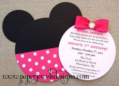 Minnie Mouse inspired Invitation  www.paperjewelsdesigns.com