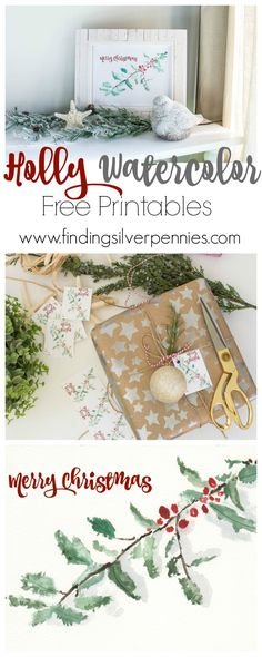Holly Watercolor Free Printables by Finding Silver Pennies