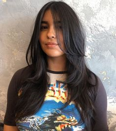 50 Cute and Effortless Long Layered Haircuts with Bangs Long Layered A-Silhouette Cut Layered Haircuts With Bangs, Haircuts Straight Hair, Long Hair With Bangs, Long Hair Cuts, Layered Long Hair, Thin Hair, Medium Haircuts, Long Dark Hair, Layered Hairstyles