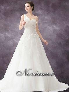 Hermoso Solo Hombro Escote Corazon Vestido de Novia SW1492 $346.99 Muestras