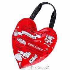 New Japan Disney Store Alice in Wonderland Zipper Red Heart Tote Bag #JapanDisneyStore
