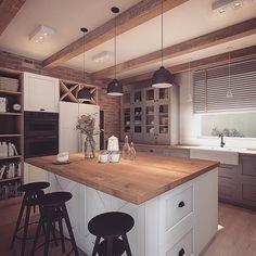 Farmhouse Kitchen Decor, Home Decor Kitchen, Kitchen Furniture, Kitchen Interior, Dining Room Design, Kitchen Design, Kitchen Sets, Beautiful Kitchens, Kitchen Flooring