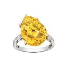 "Paolo Costagli ""11 O'Clock"" Pear-Shaped Golden Citrine Ring"