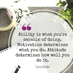 Ability is what you are capable of doing